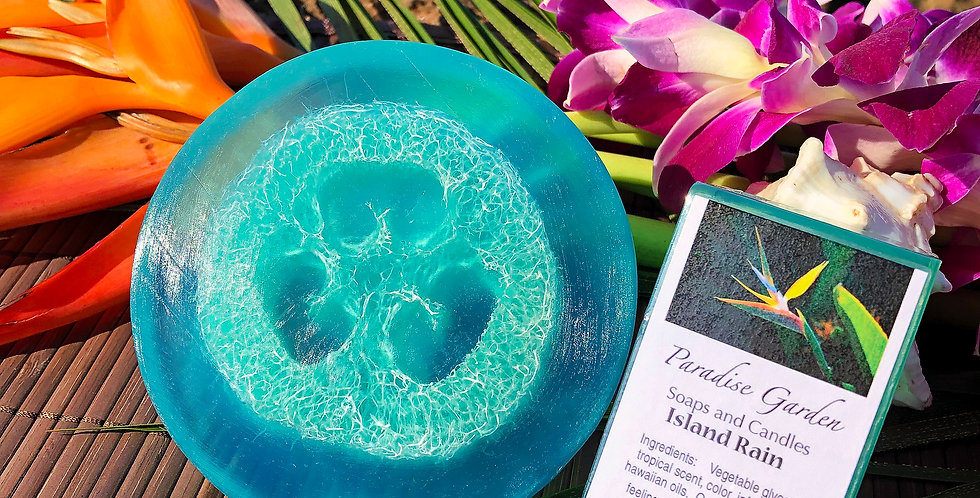 Island Rain Glycerin Loofah Soap.  Teal Blue in Color.  Smells Like a Dew Kissed Tropical Rain Forest