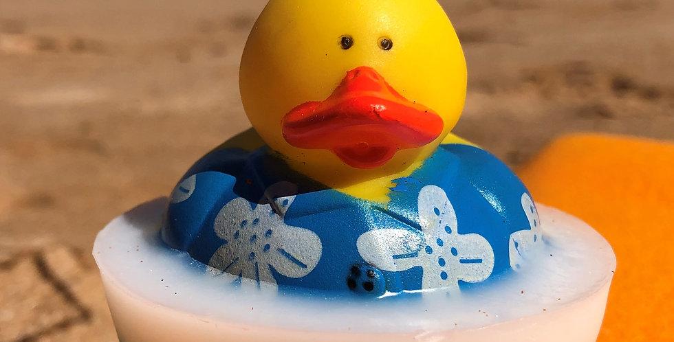 Hawaiian Shirt Rubber Ducky Embedded Inside Gentle Hypoallergenic Glycerin Soap with Coconut Oil, Light Coconut Scent