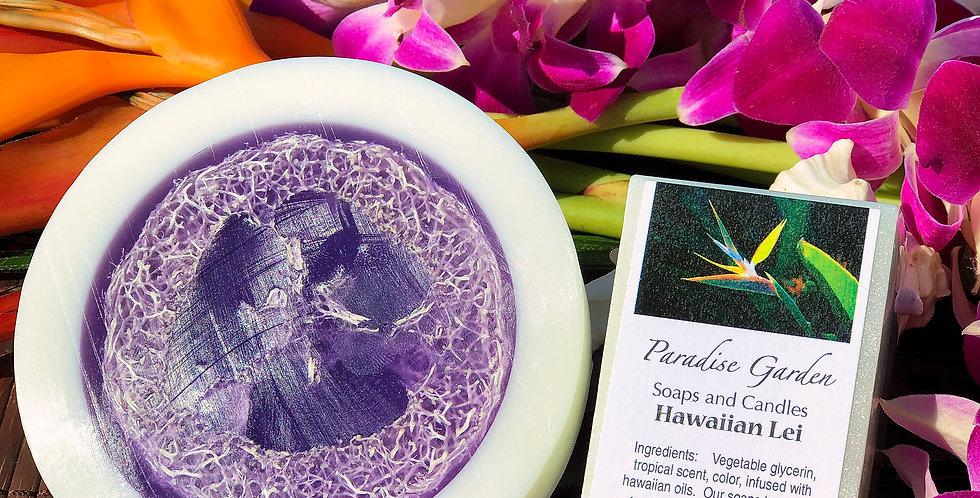 Hawaiian Lei Glycerin Loofah Soap.  Purple & White in Color.  Smells like a Fresh Orchid Lei Made with Aloha