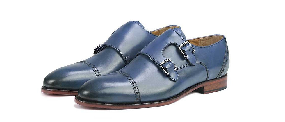 Donato Blue Double Strap Monks
