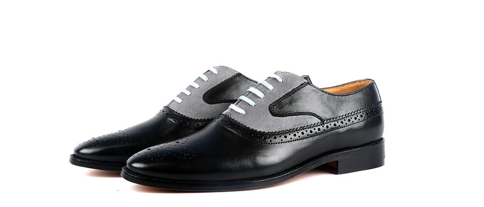 Bence Black and Grey Combination Oxford Shoes
