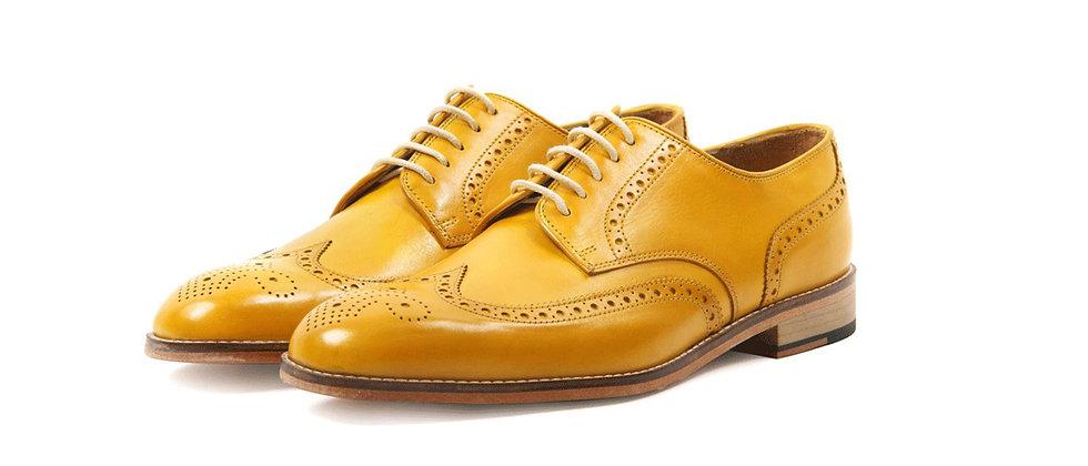 Enrique Yellow Derby Brogue Shoes
