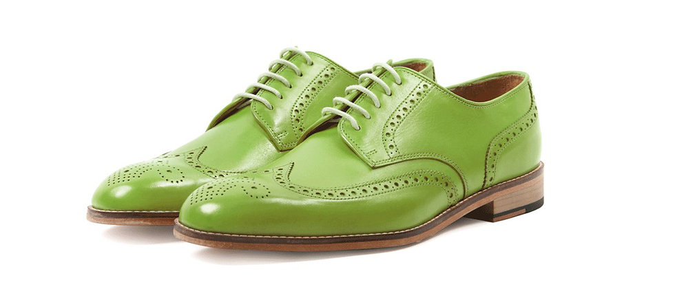 Enrique Lemon Green Derby Brogue Shoes
