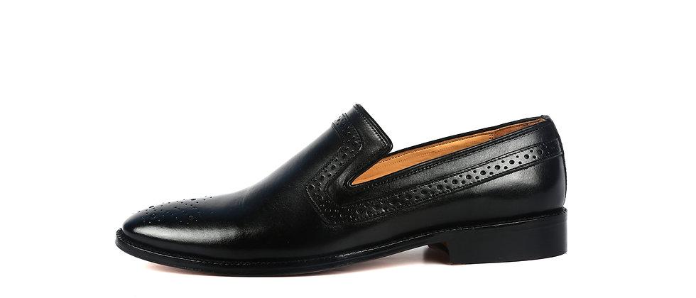 Franko Medallion Black Leather Loafer  Shoes