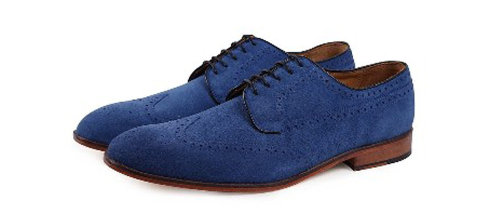 Wayne Blue Suede Derby
