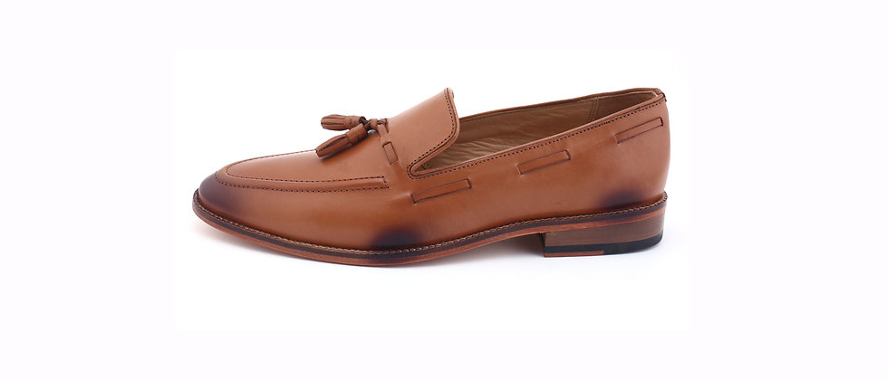 PAZA Cord Stitch & Tassel Tan Loafer