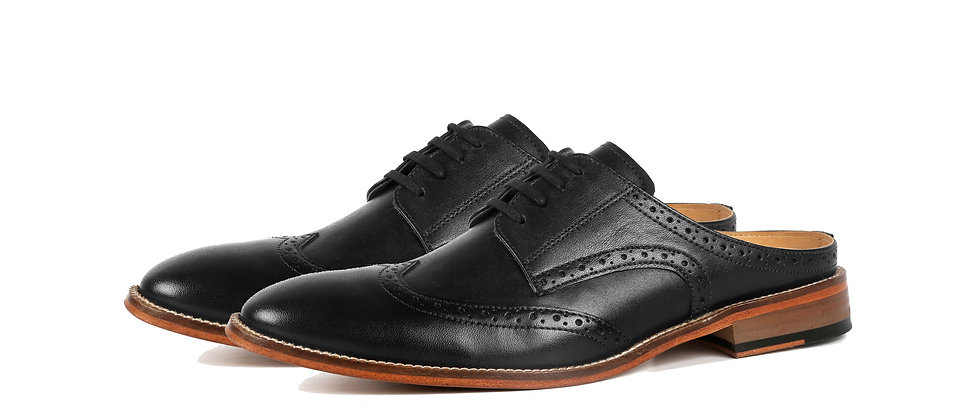 Saffio Black Brogue Derby Mule