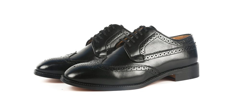 Becca Brogue Black Derby Shoes