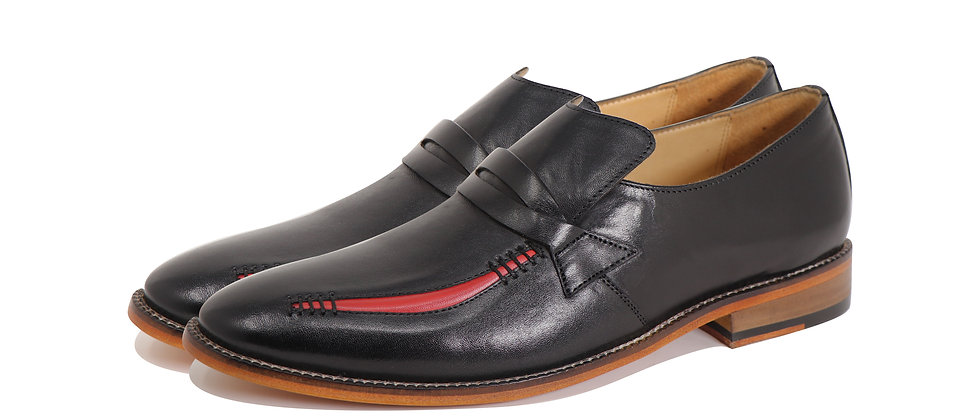 Alfredo Black Red Party Loafer Shoes