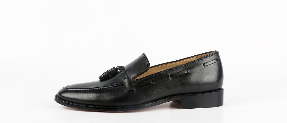 PAZA Cord Stitch and Tassel Black Loafer