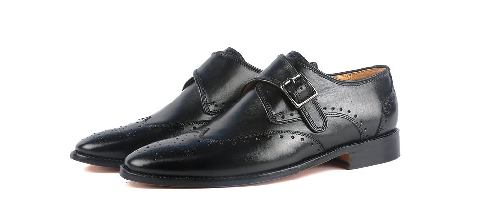 Tank Single Strap Brogue Black Monk