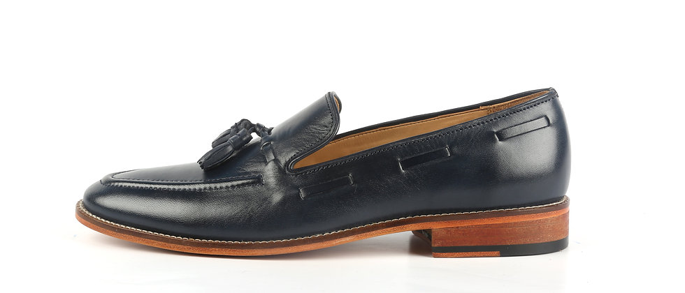 PAZA Cord Stitch and Tassel Blue Loafer