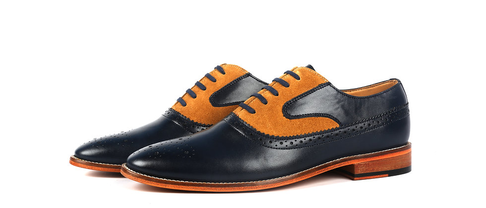 Bence Blue and Tan Combination Oxford Shoes