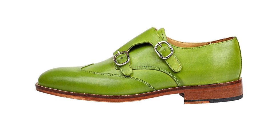 Carlo Lemon Green Double Strap Monks Shoes