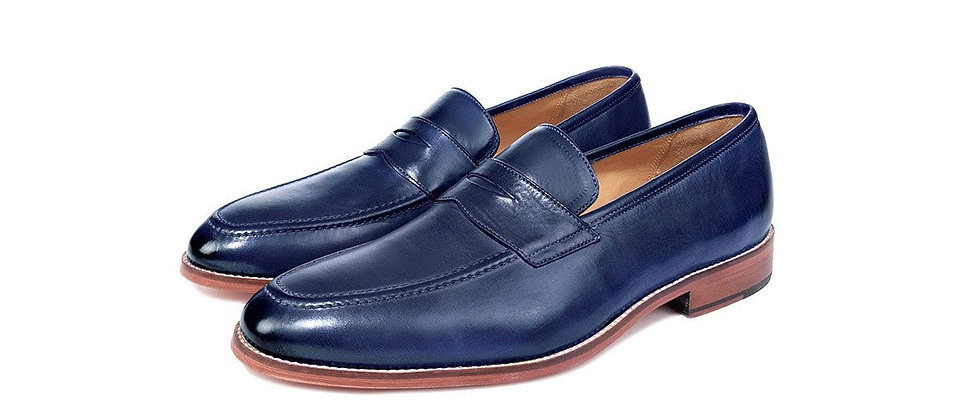 Madrid Electric Blue Penny Loafer Shoes