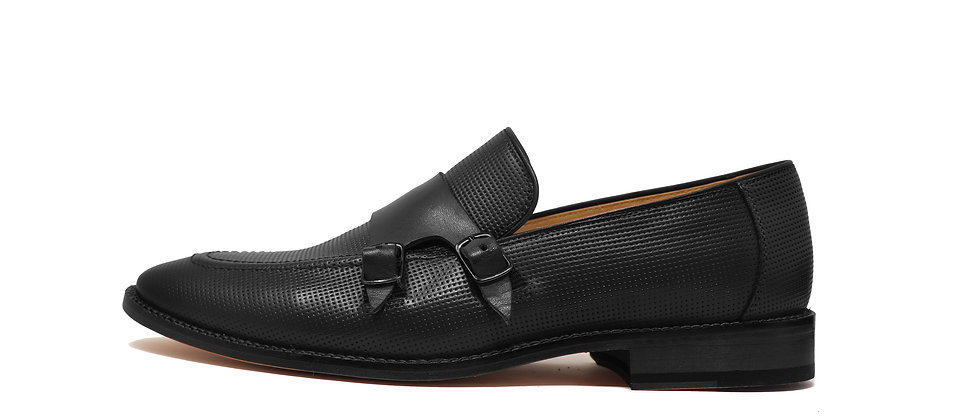 Kaiser Black Double Strap Loafer