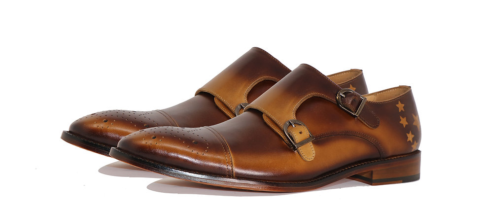 Gusta Brown Rio Tan Double Strap Monks