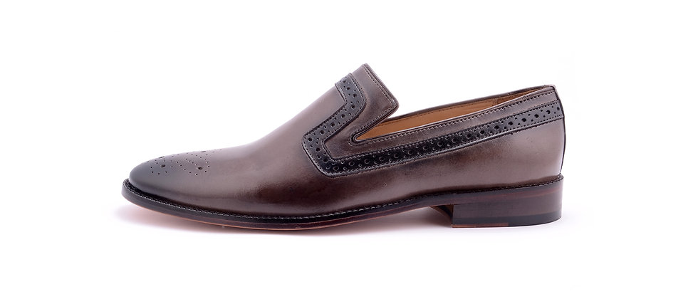 Franko Medallion Grey Leather Loafer  Shoes