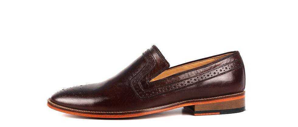Franko Medallion Brown Leather Loafer  Shoes