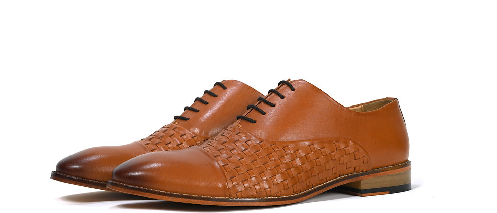 Voge Weave Toe Cap Dark Tan Oxford