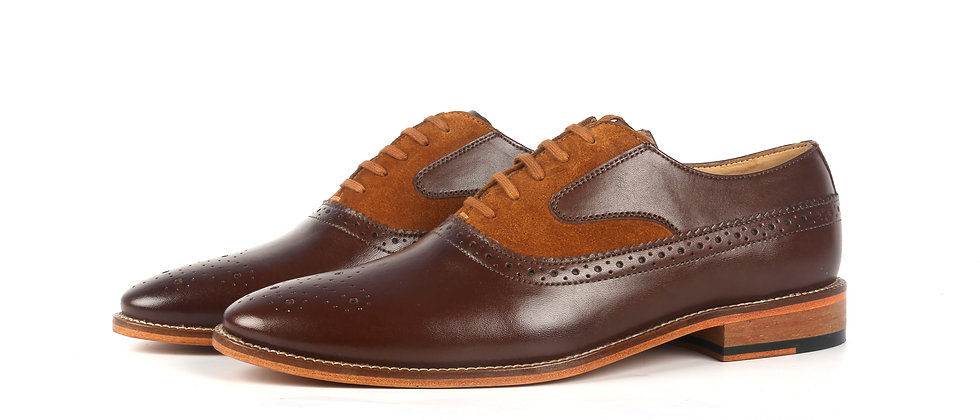 Bence Brown and Tan Combination Oxford Shoes