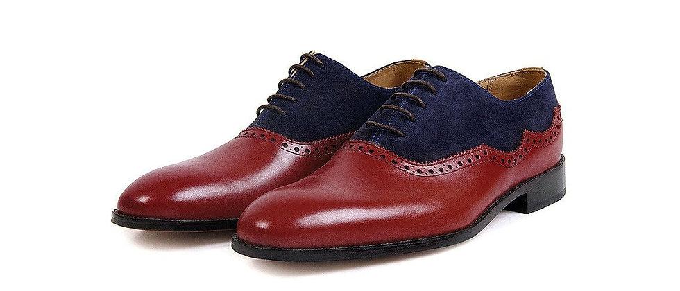 Croft Cherry Blue Combination Oxford