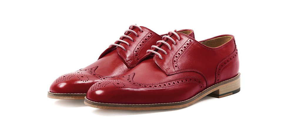 Enrique Cherry Red Derby Brogue Shoes