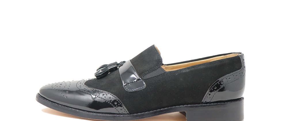 Sancho Black Comb Tassel Loafer