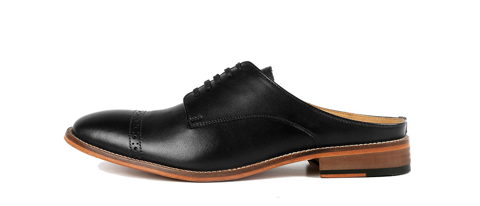 Saffio Black Derby Mule Slip on