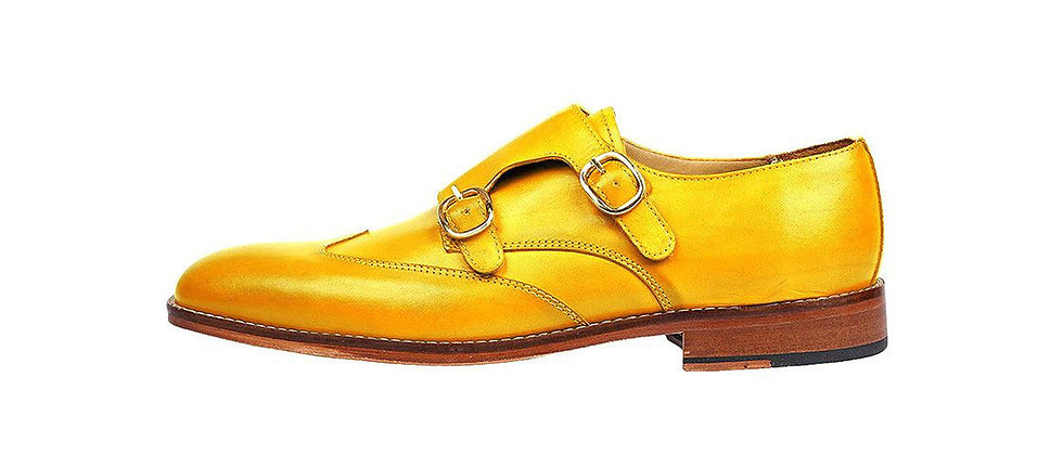 Carlo Yellow Double Strap Monks Shoes