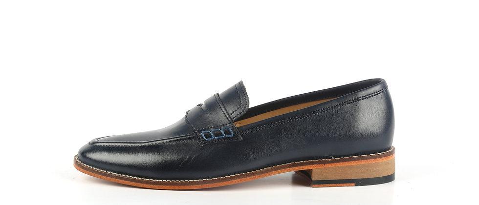 Raffa Blue Leather Loafer