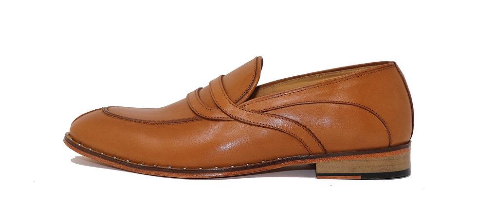 Cariño Tan Stud Belt Loafer Shoes