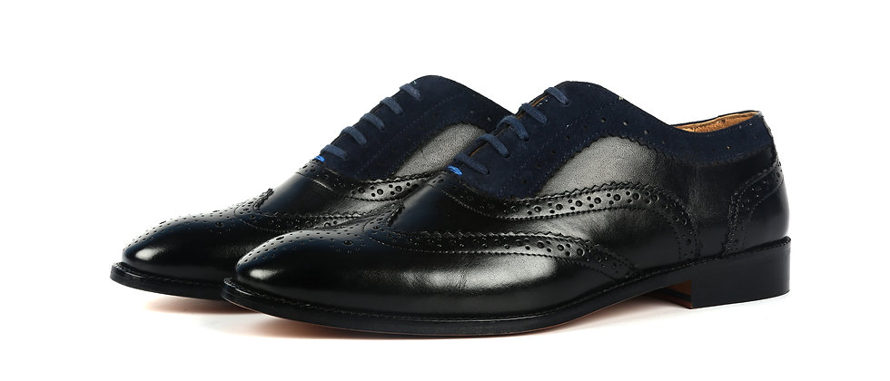 Maze Black and Blue Combination Oxford