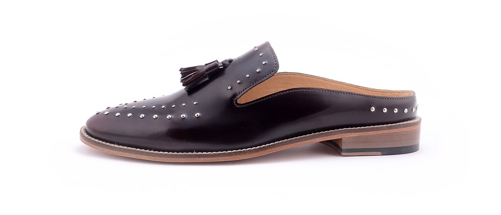Hardy Burgundy Studded Mule Slipon Shoes