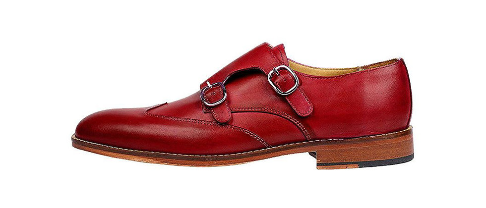 Carlo Cherry Double Strap Monks Shoes