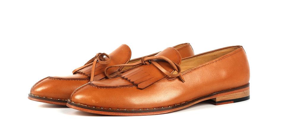 Casca Tan Stud Belt Split Lace Loafer Shoes
