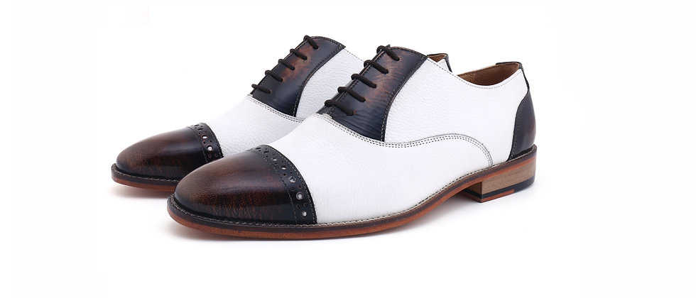 Tuxe Brown BrushOff White Combination Oxford