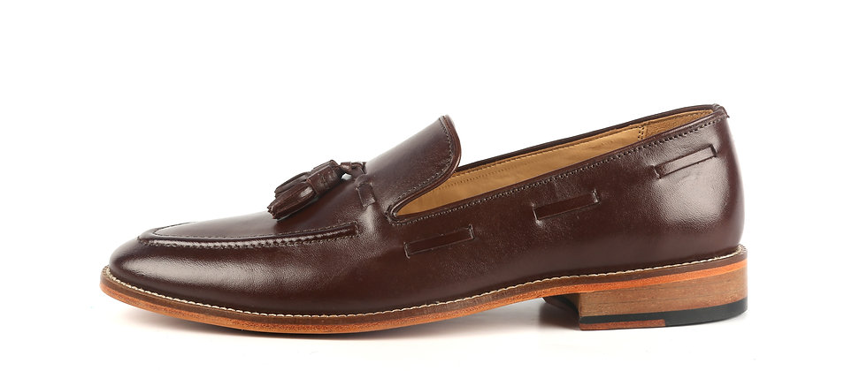 PAZA Cord Stitch and Tassel Brown Loafer