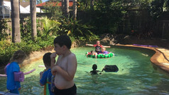 Enjoying the backyard pool!