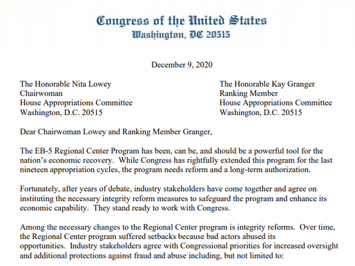 Member of Congress Express Their Support for EB-5 in Letter to House Appropriators