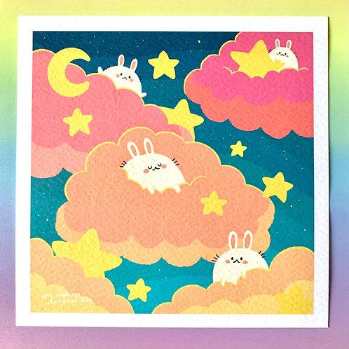 Cloud Bunnies Square Art Print