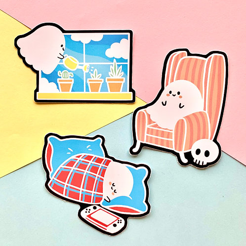 Spooky Cute Ghost Stickers Set of 3