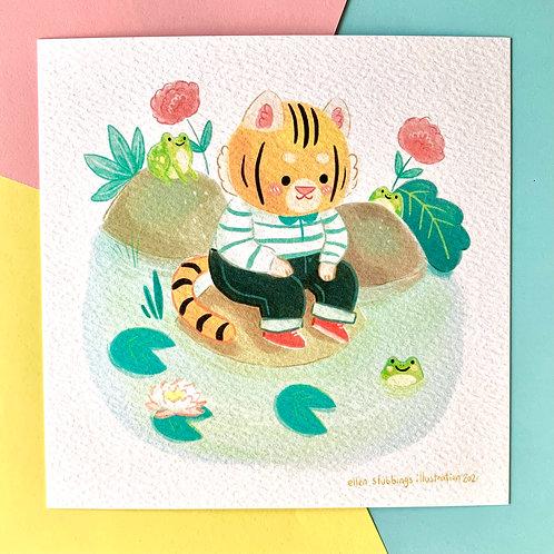 Cute Tiger Pond Square Art Print