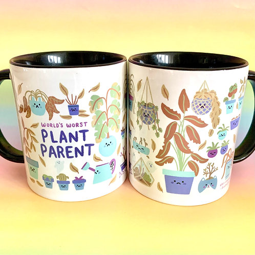 World's Worst Plant Parent Mug Cute Illustration Cup