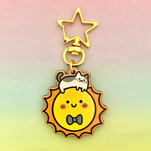 The Sun Has Got His Cat On Wooden Keyring Charm