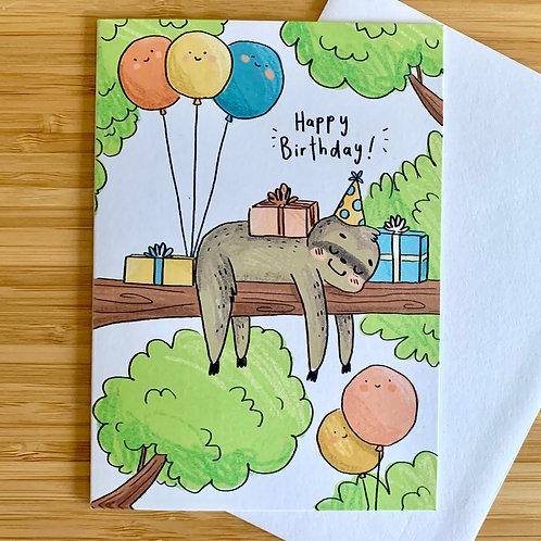 Happy Birthday Sloth A6 Greeting Card