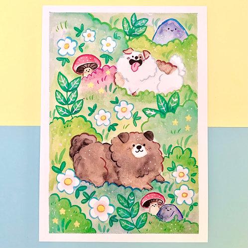 Super Fluffy Dog A5 Art Print