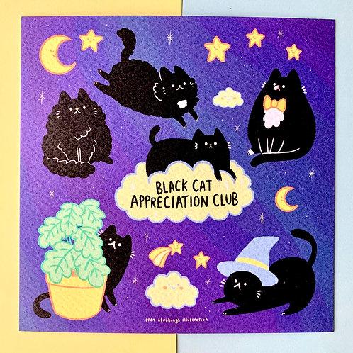 Black Cat Appreciation Square Art Print