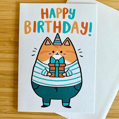 Friendly Cat Birthday A6 Greeting Card