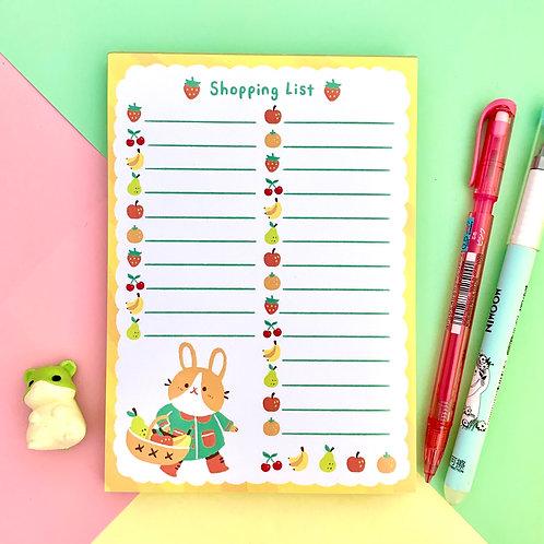 Cute & Fruity Bunny Shopping List A6 Memo Pad